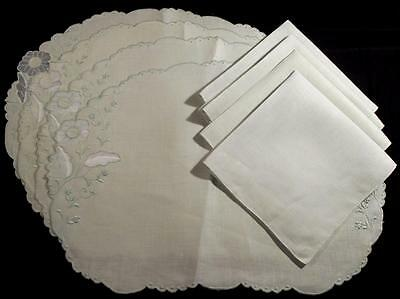 Awesome Vintage Madeira Linen Place Mat Set,4 Oval Mats,4 Napkins