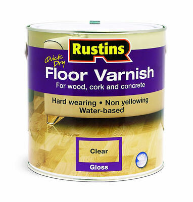Rustins Quick Dry Floor Varnish Gloss Clear 2.5Litre For Wood & Other Hard Floor