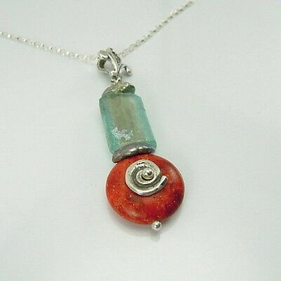 Hadar Designers Handmade Sterling Silver Ancient Roman Glass Coral Pendant (as