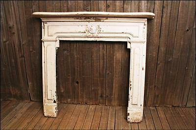 Antique WOOD FIREPLACE MANTEL w/ White Chippy Paint hearth architectural salvage