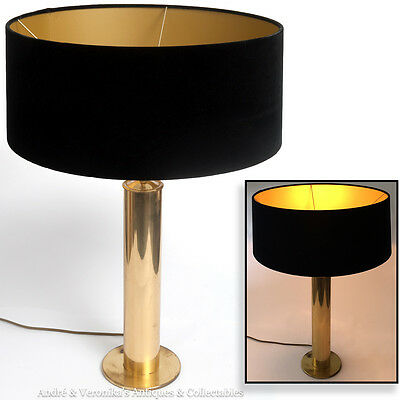 1970's Solid BRASS Cylinder TABLE LAMP with Black Velvet Shade Gold Glow Vintage