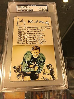 Johnny Blood Mcnally Packers Pittsburgh Steelers Signed Index Card Psa Auto