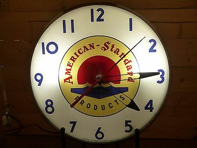 Original 1960s American Standard Lighted Telechron Advertising Clock Sign no Pam