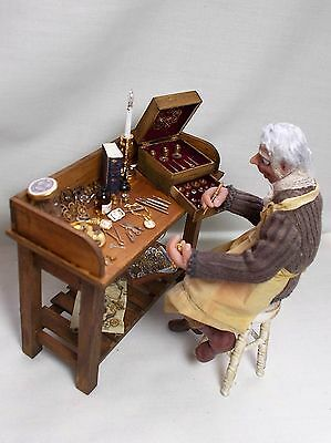 Dollhouse miniature ARTISAN handmade Watchmaker / Clockmaker Filled Table