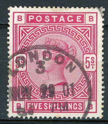 Gb 1883/4 Qv Surface Printed Sg 181 5/- Crimson (Bb) London Hs Fine Used
