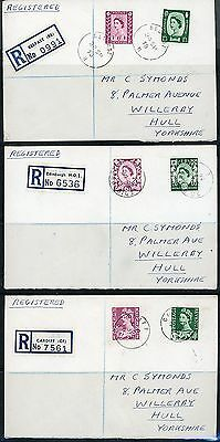 GB 1958 (29 SEPT) REGIONALS 6d & 1/3 SET OF 3 PLAIN REGISTERED FIRST DAY COVERS