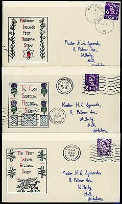 GB 1958 (18 AUG) REGIONALS 3d SET OF 6 HAND ILLUSTRATED FIRST DAY COVERS