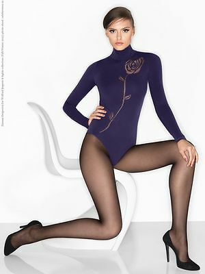 Wolford L body black rose design NEW