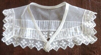 Vintage Antique Net Lace and Picot Lace Collar, Jabot, White Lacy Collar