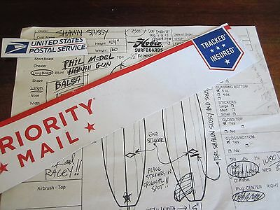 old order form HOBIE  surfboards PHIL MODEL HAWAIIAN GUN FOR SHAWN STUSSY 1997