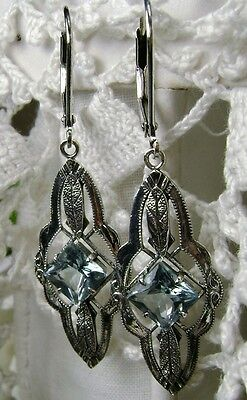 Natural Blue Topaz Sterling Silver Victorian Filigree Drop Earrings ({MTO/New)}