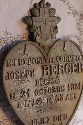 An Antique French Metal Heart Memorial Plaque for 'Joseph Berger' Dated 1931