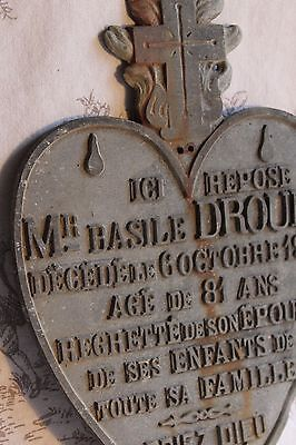 An Antique French Metal Heart Memorial Plaque for 'Basile Drouet' Dated 1920