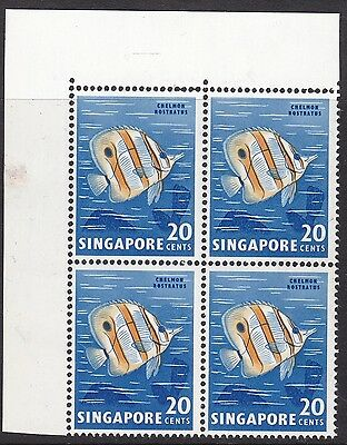 Singapore 1962-66 20C Fish, Nick In Fin Positional Block Of Four Unmounted Mint