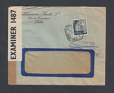 PORTUGAL 1940s WWII CENSORED COVER LISBON TO USA AMERICAN CUSTOMS HANDSTAMP