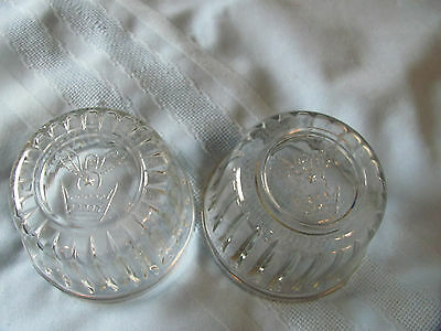 2 Vintage Jelly Jam Jars Glass Kerr Bee Crown or Angel No Cover