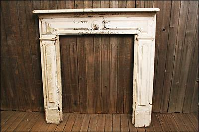 Antique WOOD FIREPLACE MANTEL White Paint hearth architectural salvage art frame