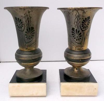 Pr Vintage French Shabby Chic Painted Metal & Marble Gothic Garnitures