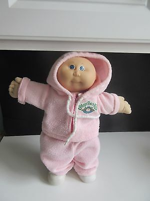 Vtg Coleco Cabbage Patch Kids Doll Bald Preemie Boy Pink Snowsuit Blue Eyes 15""