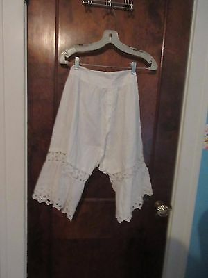 Antique Ladies White Cotton Pantaloons Bloomers w Crocheted Lace Mid 1800's
