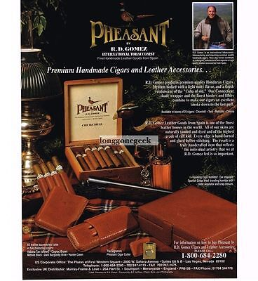 1997 Pheasant Churchill Cigars and leather accessories Vtg Print Ad