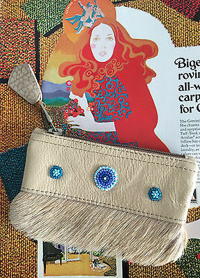 Vintage 60s 70s American Indian Style Leather Fur Beadwork Coin Purse Hippy Boho