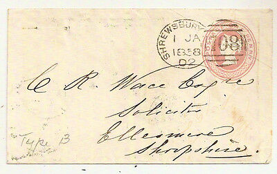 1858 SHREWSBURY SPOON CANCEL CODE D2 QV 1d PINK POSTAL STATIONERY ENV 1 JANUARY