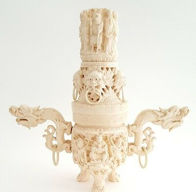 Vintage Intricate Carved Chinese Bone Color Incense Burner Dragon Handles Buddha