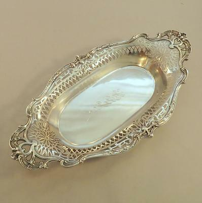 "Antique Art Nouveau Pierced Sterling 15"" Bread Dish"