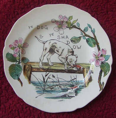 Aesops Fables Copeland Plate Ye Dog And Ye Shadow (1879)