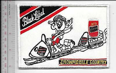 Snowmobile & Beer Black Label Beer Snowmobile Country 1970's Advertizing Patch