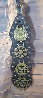 Vintage Horse Brass Saddle Ornament Harness Medallions/ on Leather Strap