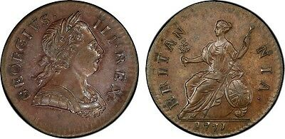1771 Great Britain George Iii 1/2 Penny Pcgs Ms63 Brown