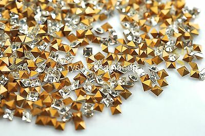 144 Swarovski Square Rhinestones #4401 3mm Crystal Gold Foiled -V0666
