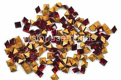 144 Swarovski Fancy Rhinestone Square Shape #4401 4mm Siam -V0729
