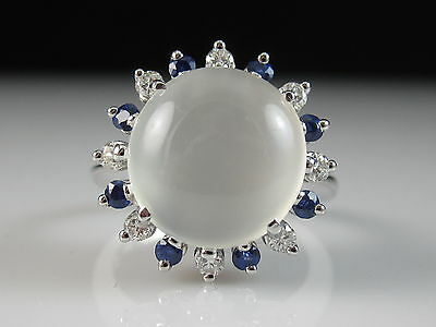 18K Cat's Eye Moonstone Blue White Sapphire Ring White Gold Fine Jewelry Size 6.