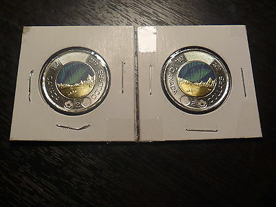 Canada 2017 $2 Set Of Two Colored Glow In The Dark!! From Mint Roll!!