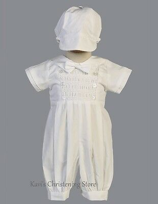 Baby Boy White Christening Suit Baptism Outfit Romper Tie & Hat Sz 0-18M  Isaac