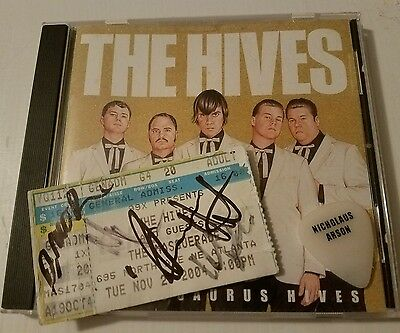 THE HIVES cd + ticket signed by x5 & STAGE USED TOUR GUITAR PICK Nicholaus Arson