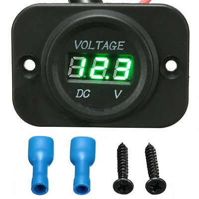 DC 12V-24V Car Marine Motorcycle Green LED Digital Voltmeter Voltage Meter Gauge