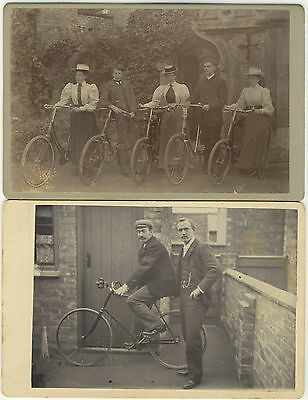 Two CABINET CARDS: Turn of the Century BICYCLE PHOTOGRAPHS Victorian / Edwardian