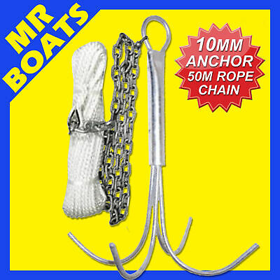 10MM REEF ANCHOR KIT - Includes 2M Galvanised Chain, 50M x 6mm Rope 2 Shackles -