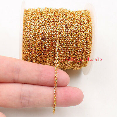 5m/20m/50m Lots Stainless Steel Gold 2.2mm Flat chain Jewelry Finding Making DIY