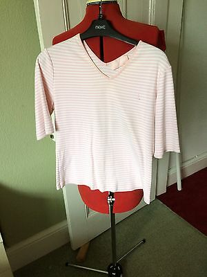Gerry Weber Sport Short Sleeve Top - Size 14 - Pink & White Stripe