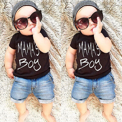 Summer Toddler Kid Baby Boy Clothes T-shirt Top Tee Denim Short Pants Outfit Set