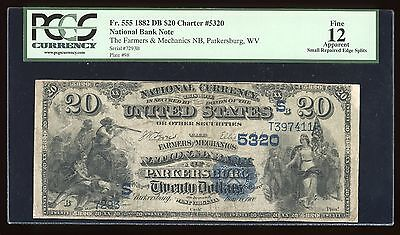 $20 1882 DB Parkersburg WV 11 known Ch. 5320 PCGS App 12 Serial 7293
