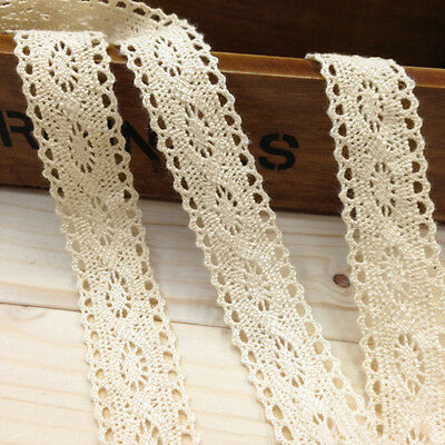 12m Vintage Wedding Bridal Cotton Crochet Lace Trim Decorative Ribbon Craft