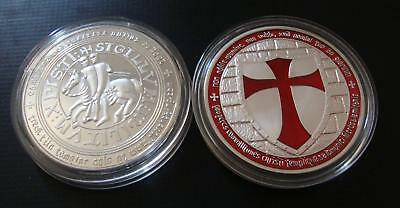 1 oz Tempelritter Medaille Neusilber Farbedition Soldaten Christi