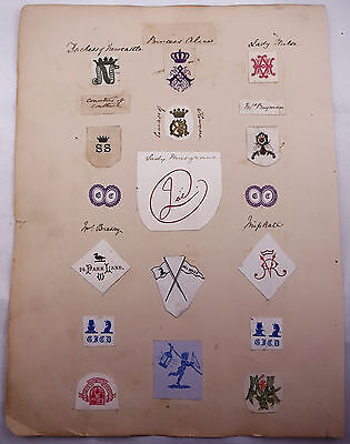 Collection of Monograms and Letterhead Crests Early 1900s