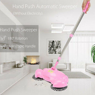 Pink Hand Push Automatic Sweeper Broom Household Cleaning Without Electricity